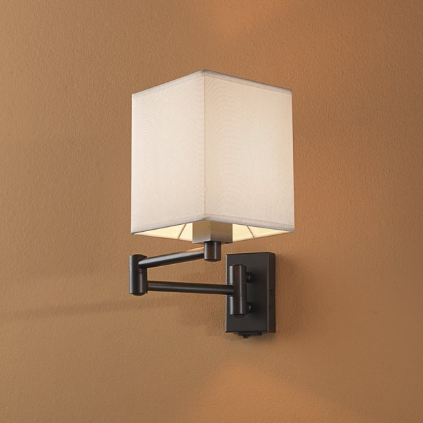 gelenkarm wandlampe mit stoffschirm. Black Bedroom Furniture Sets. Home Design Ideas