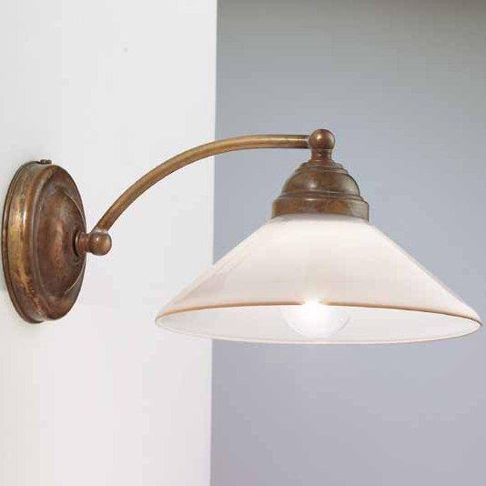 rustikale wandlampe country mit rundem oder konischem glasschirm von il fanale. Black Bedroom Furniture Sets. Home Design Ideas