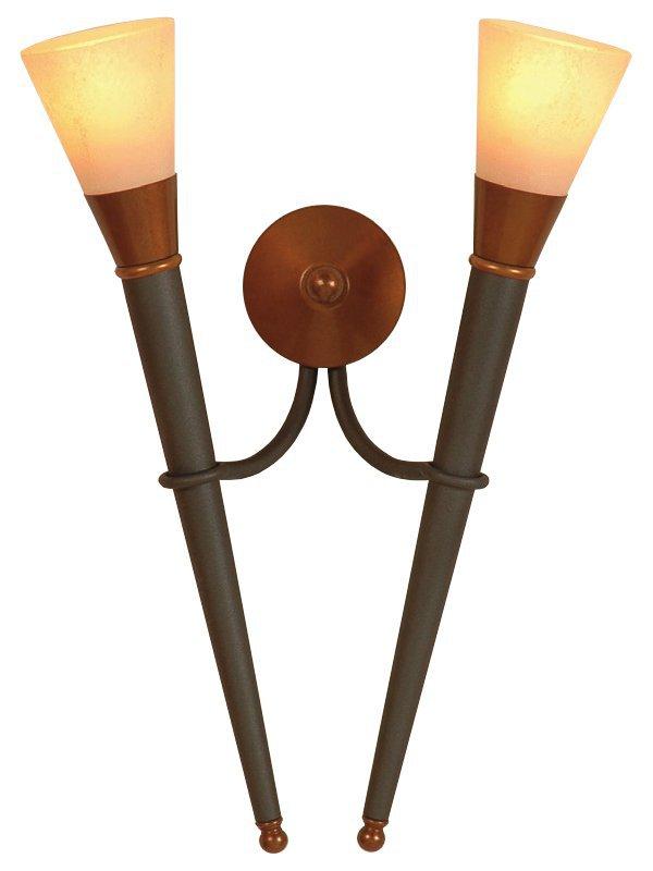 rustikale doppelte wandfackel von menzel leuchten. Black Bedroom Furniture Sets. Home Design Ideas
