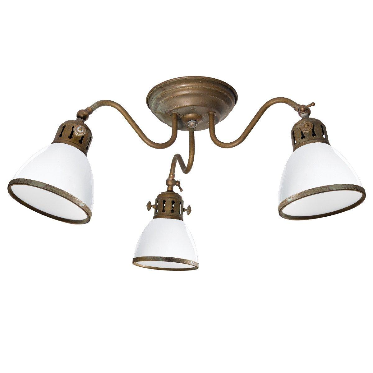 Historische deckenlampe in messing mit farbigen glasschirmen for Deckenlampe messing