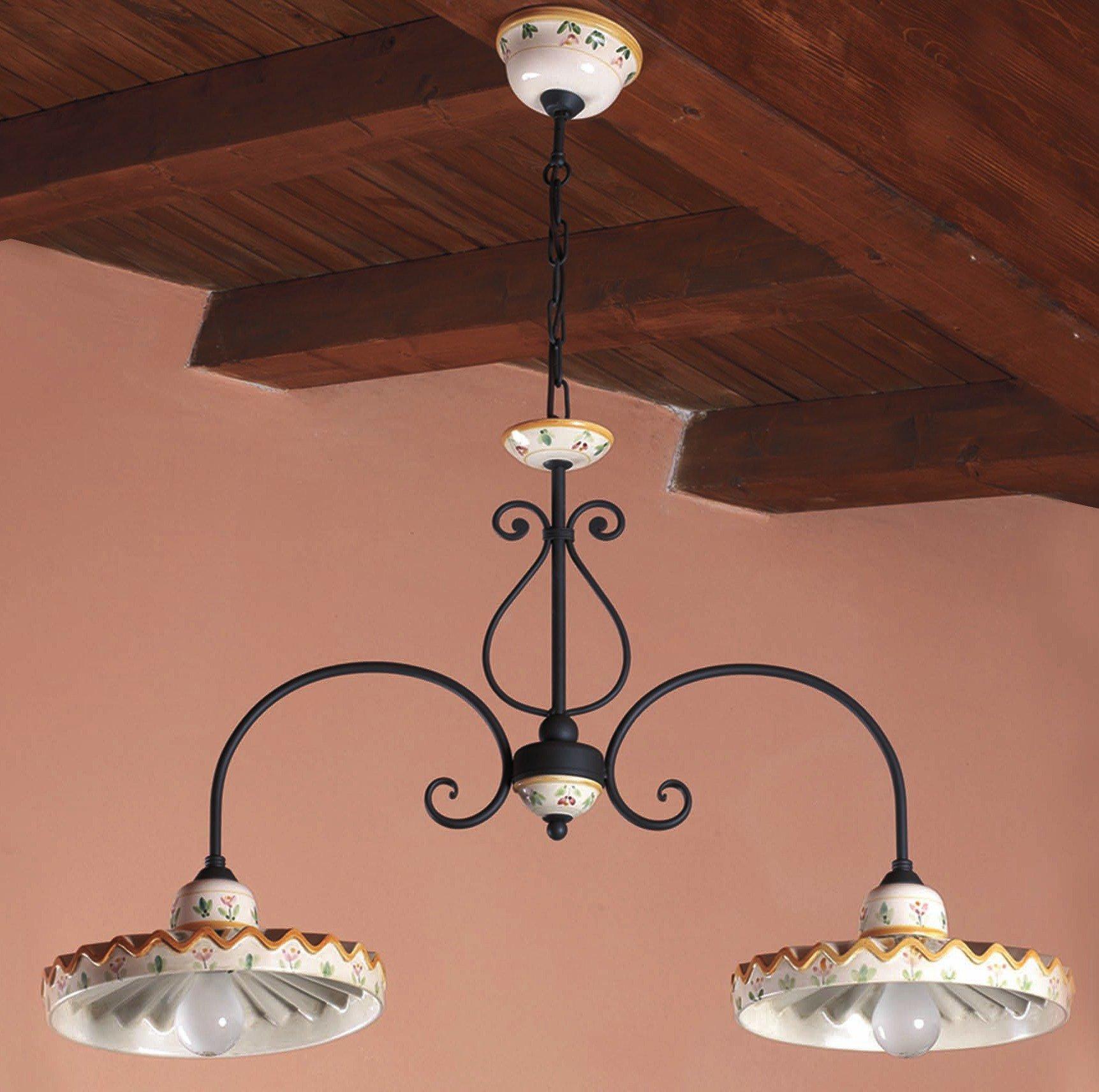 italienische landhaus balkenleuchte mit handbemalten keramik schirmen von signa g nstig kaufen. Black Bedroom Furniture Sets. Home Design Ideas