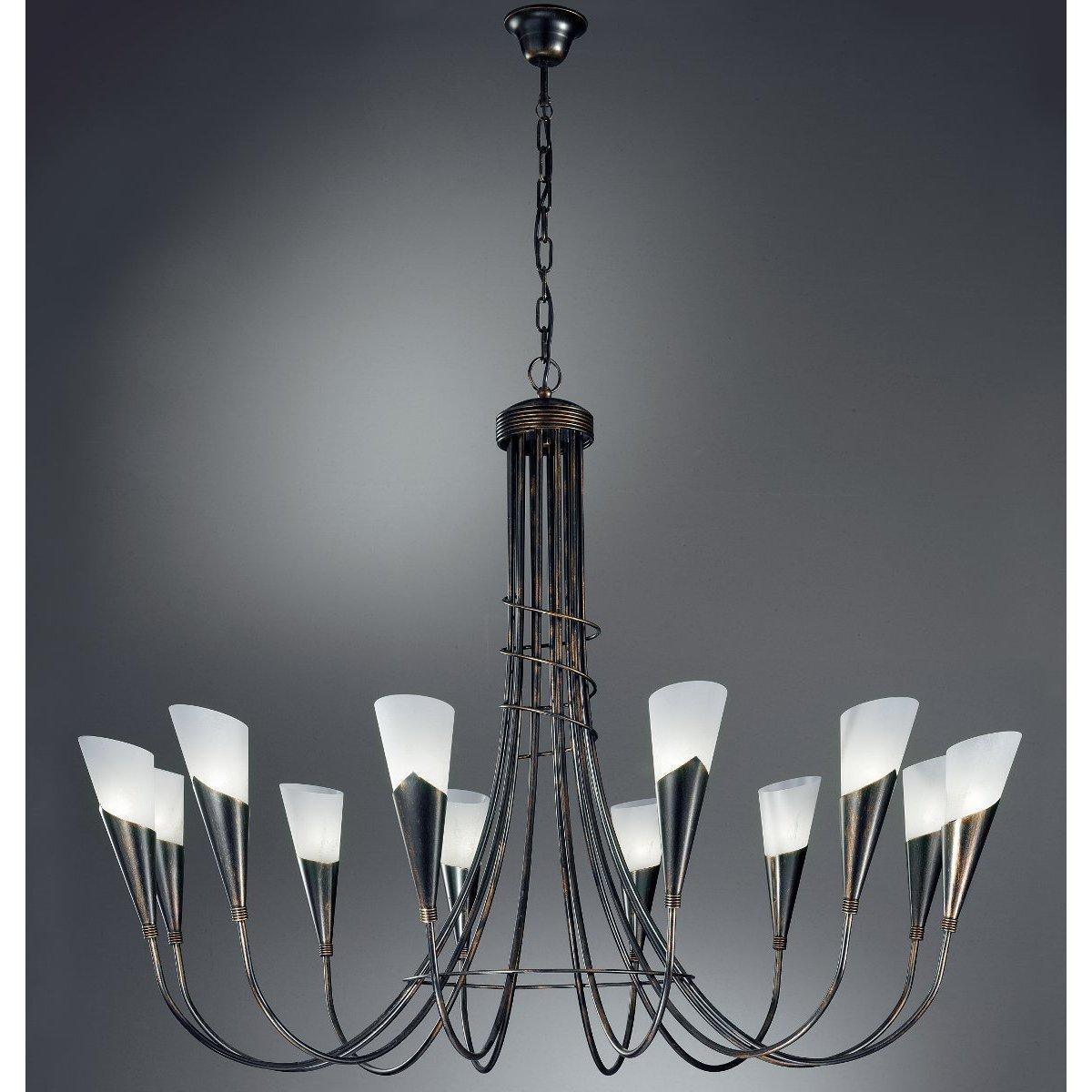 kronleuchter in schwarz oder kronleuchter in silber mit glasschirmen g nstig kaufen bei lampen. Black Bedroom Furniture Sets. Home Design Ideas