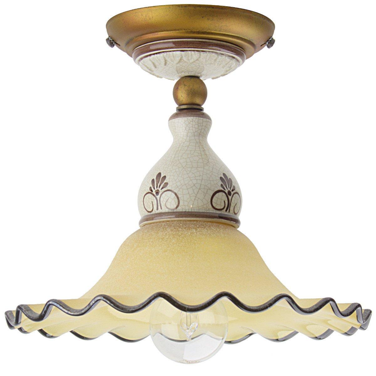 Lampen Landhausstil Keramik Leuchte Im Kaufen Gebraucht: Italienische Landhaus-Deckenleuchte Aus Glas Und Keramik
