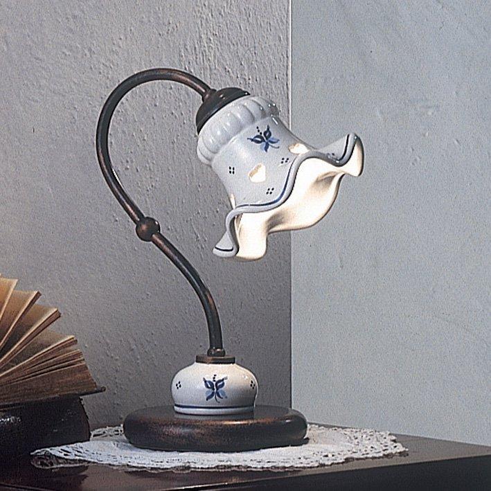 tischleuchte als nachttischlampe in messing und keramik von ferroluce. Black Bedroom Furniture Sets. Home Design Ideas