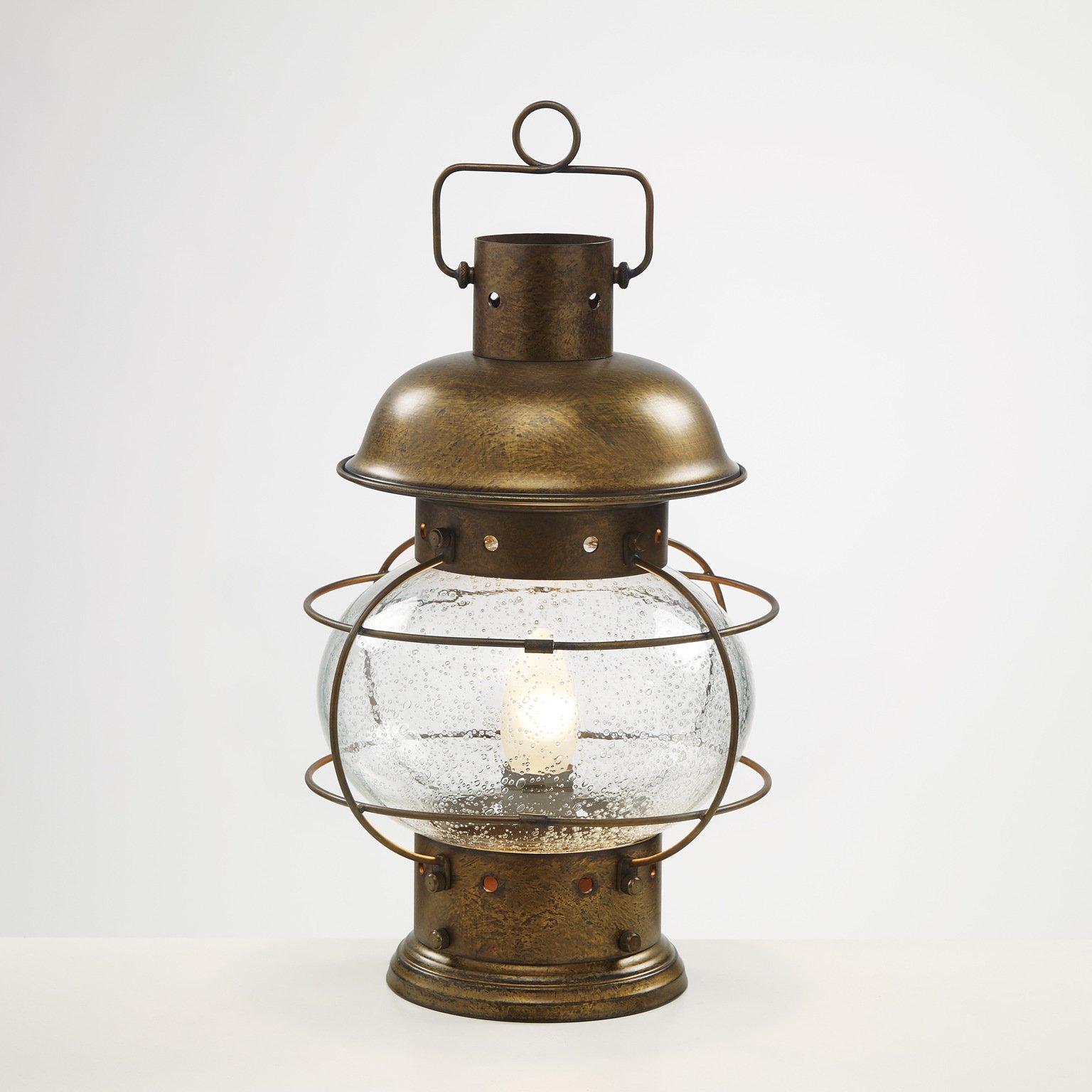 maritime tischlampe in messing und glas. Black Bedroom Furniture Sets. Home Design Ideas