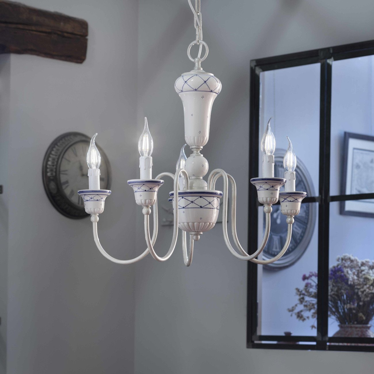 keramik messing kronleuchter im landhausstil von ferroluce g nstig bei lampen suntinger shop kaufen. Black Bedroom Furniture Sets. Home Design Ideas