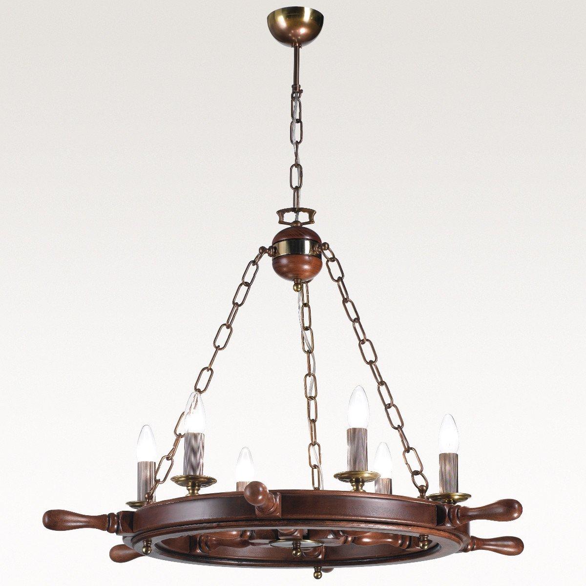 kronleuchter auf holz steuerrad im stil einer schiffslampe. Black Bedroom Furniture Sets. Home Design Ideas