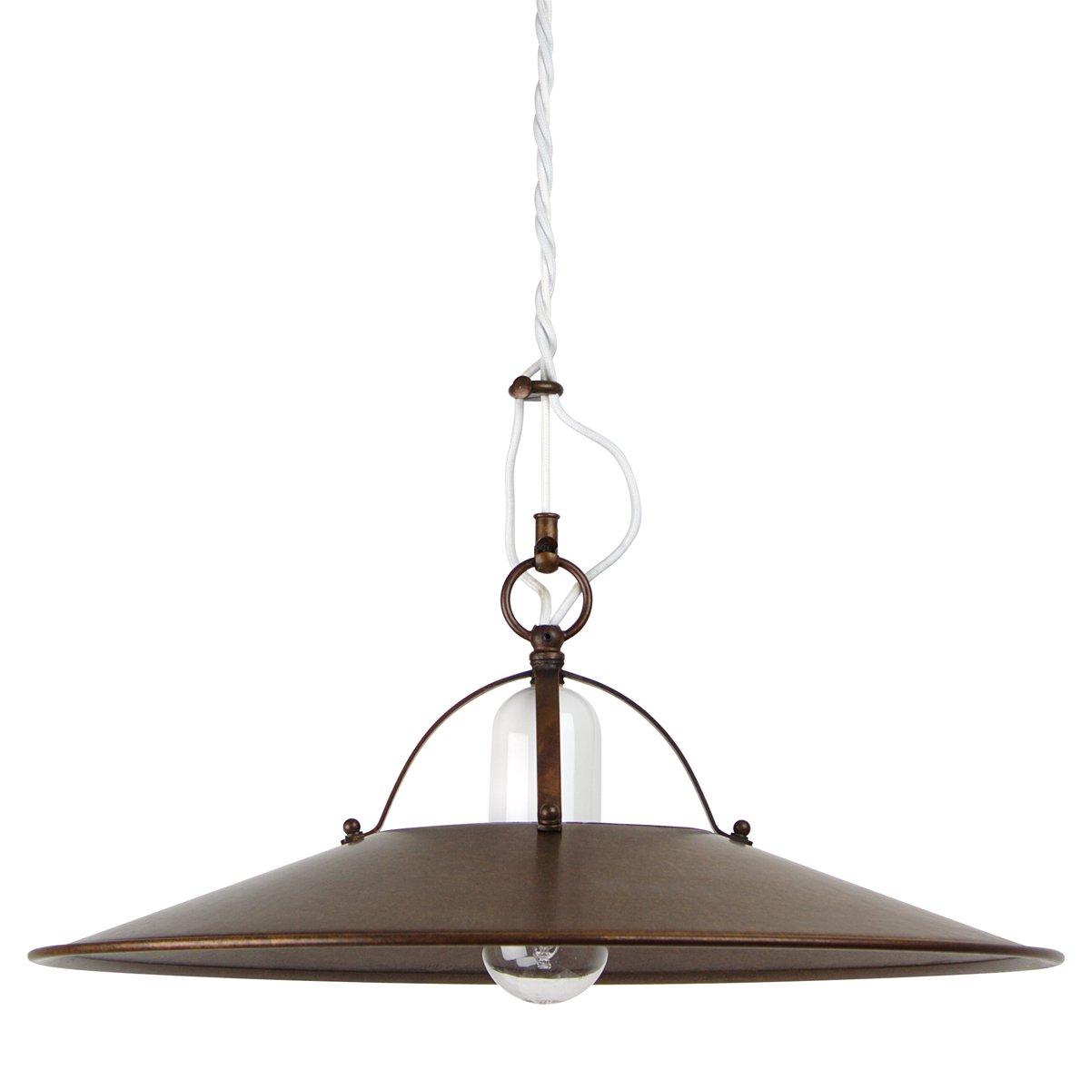 rustikale h ngelampe postiglione mit messingschirm und keramikhalterung. Black Bedroom Furniture Sets. Home Design Ideas