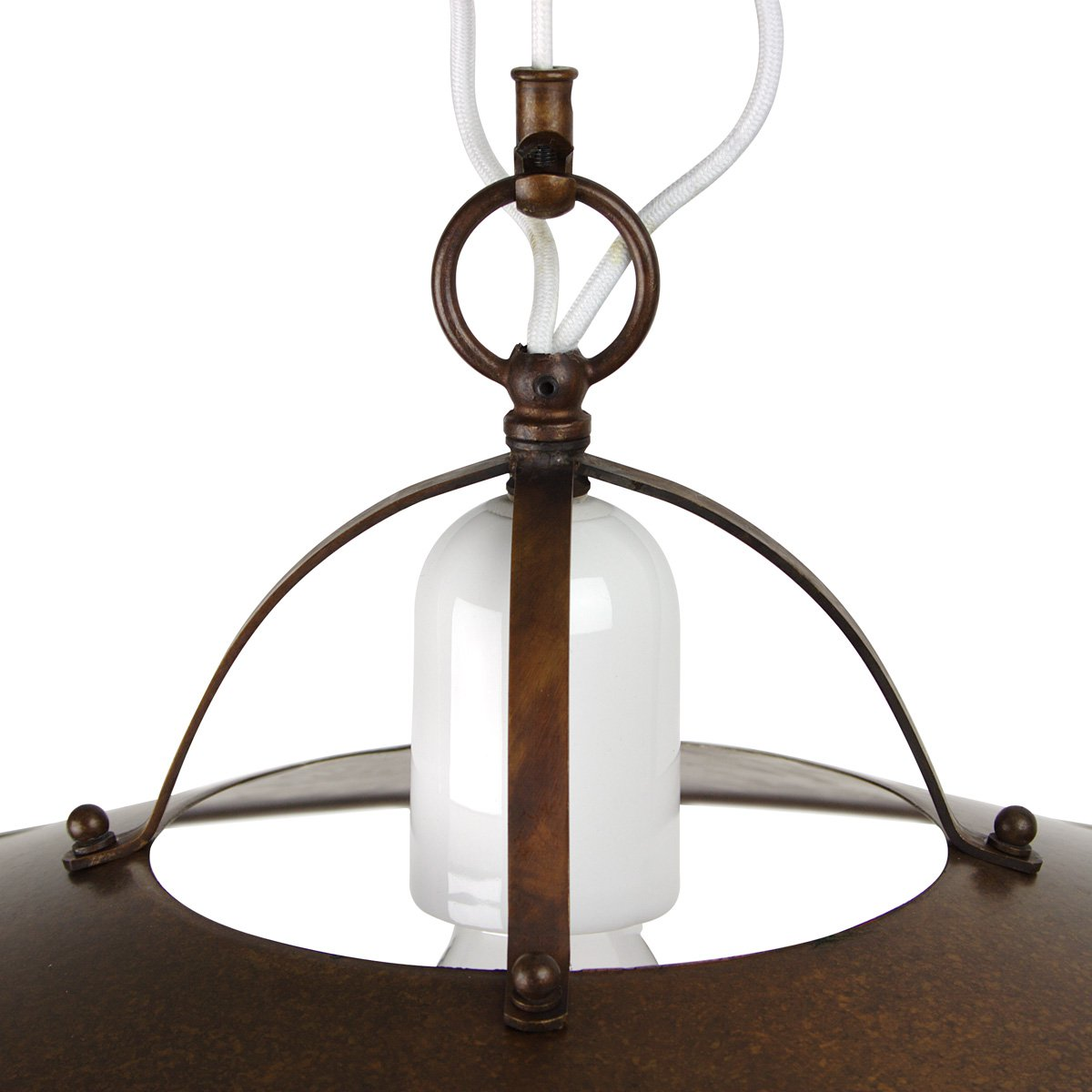 Schmiedeeisen Rustikale Lampen Berlin Kaufen: Zuglampe POSTIGLIONE In Messing Und Keramik Von Aldo