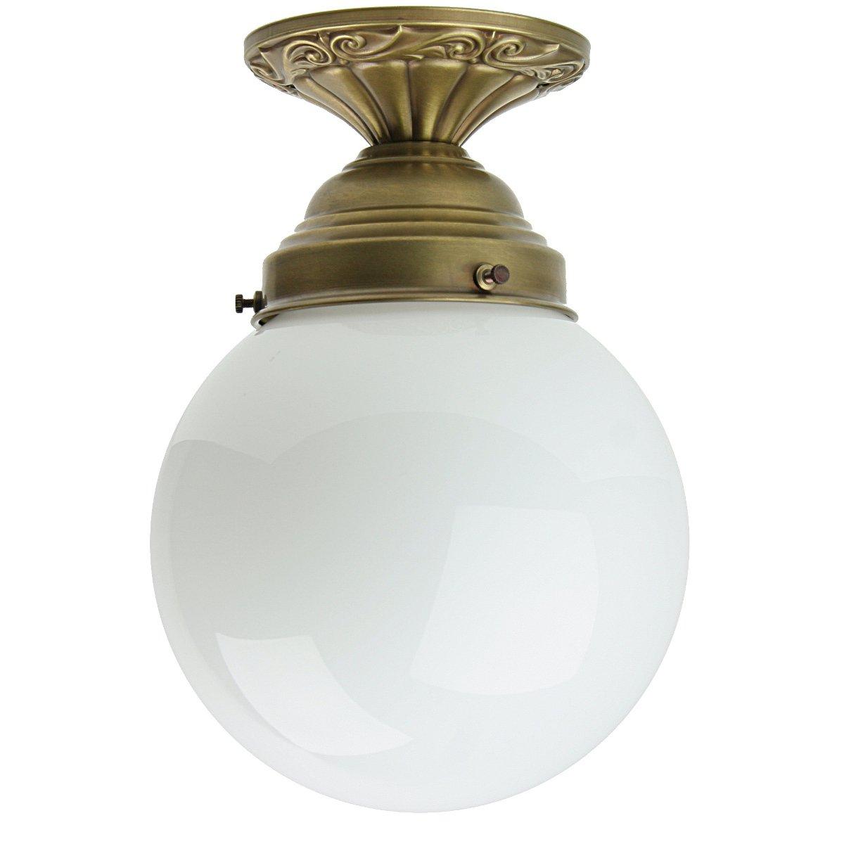 Deckenlampe Im Jugendstil Design Mit Weissem Kugelglas