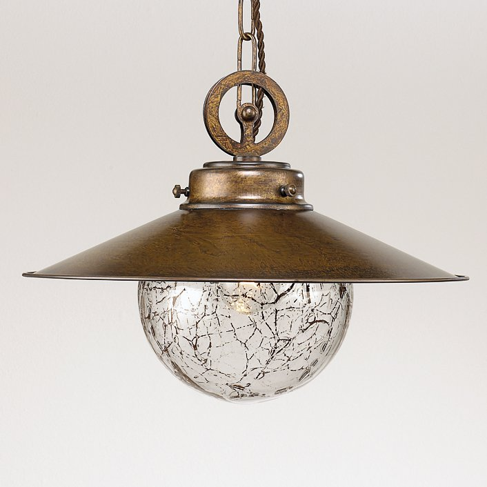 rustikale kugellampe im maritimen stil mit kettenaufh ngung. Black Bedroom Furniture Sets. Home Design Ideas