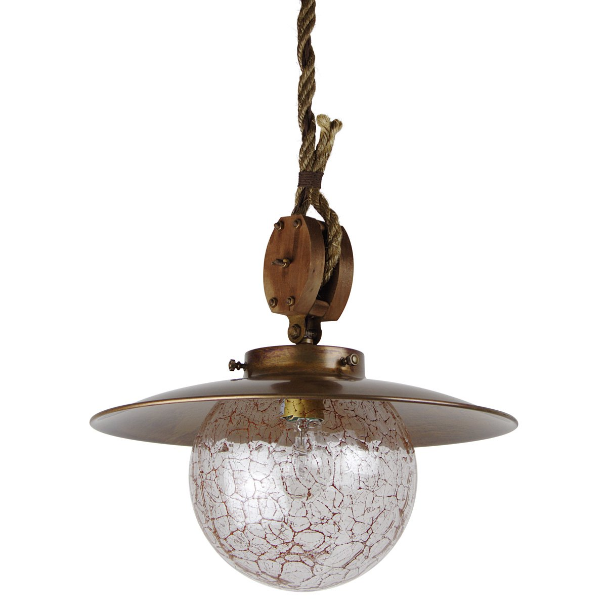 Schmiedeeisen Rustikale Lampen Berlin Kaufen: Rustikale Stubenlampe In Messing Mit Seil-Aufhängung