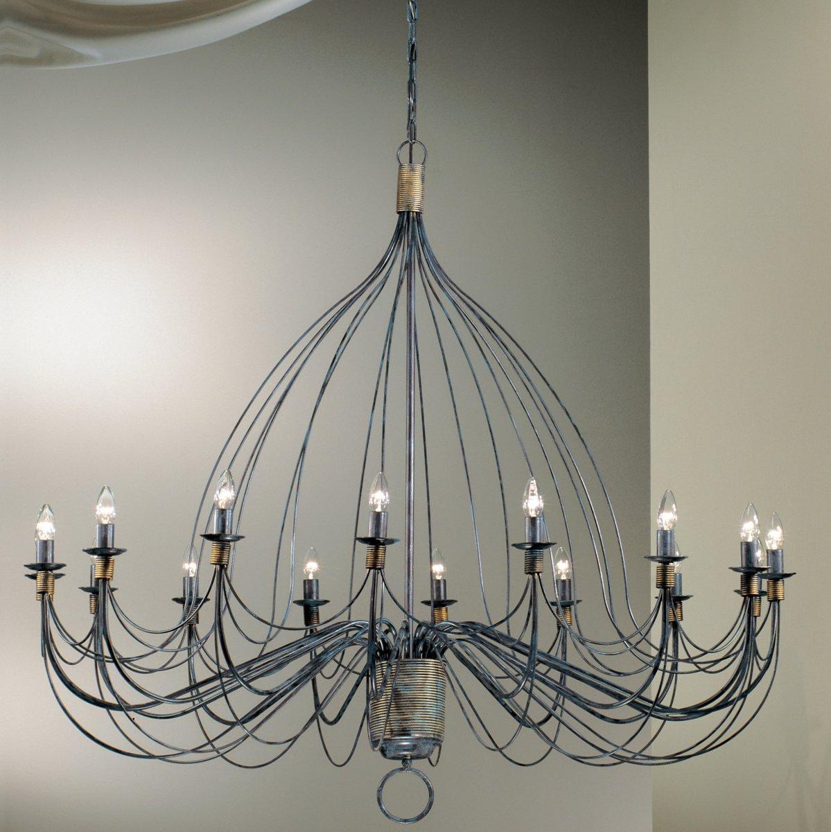rustikaler eisen kronleuchter mit 16 lichtquellen von hans k gl wohnlicht. Black Bedroom Furniture Sets. Home Design Ideas