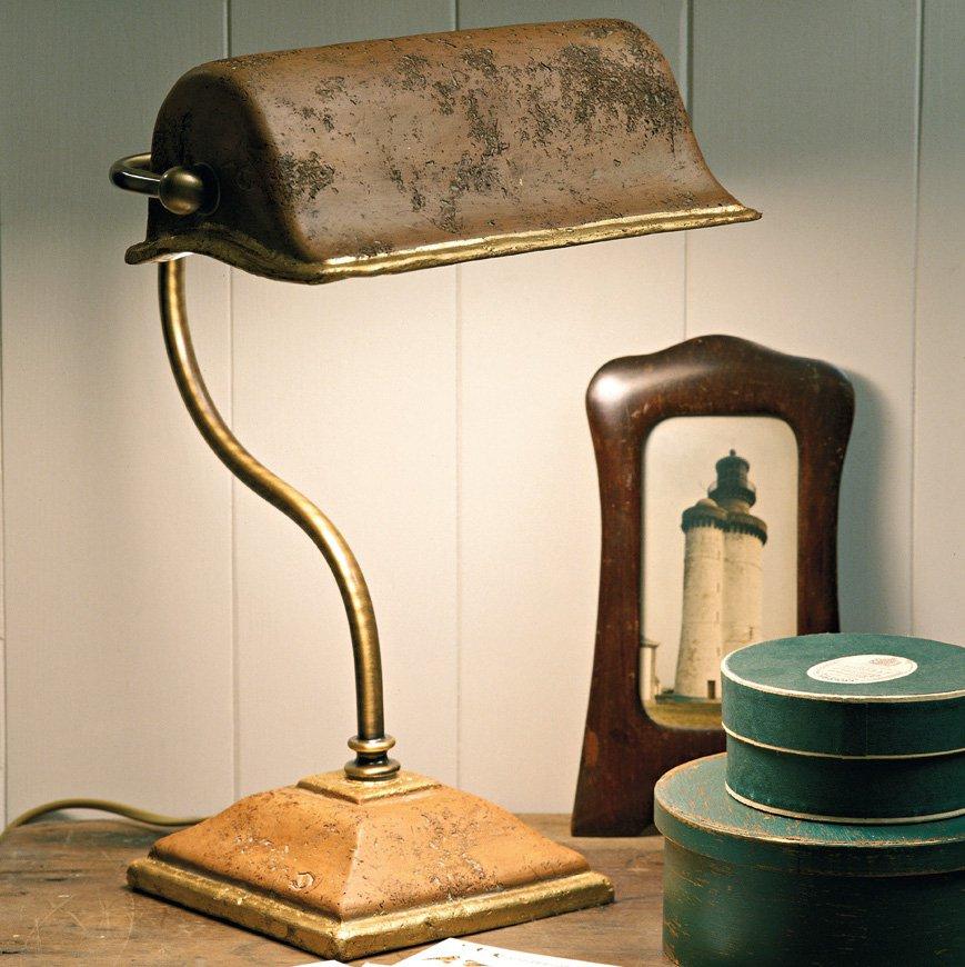 rustikale bankers lamp italienische schreibtischleuchte in au ergew hnlichem design. Black Bedroom Furniture Sets. Home Design Ideas