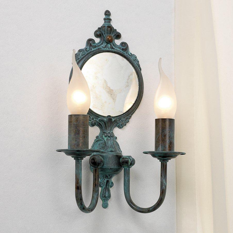 rustikaler wandleuchter in messing mit spiegel im stil eines alten wandleuchters g nstig kaufen. Black Bedroom Furniture Sets. Home Design Ideas