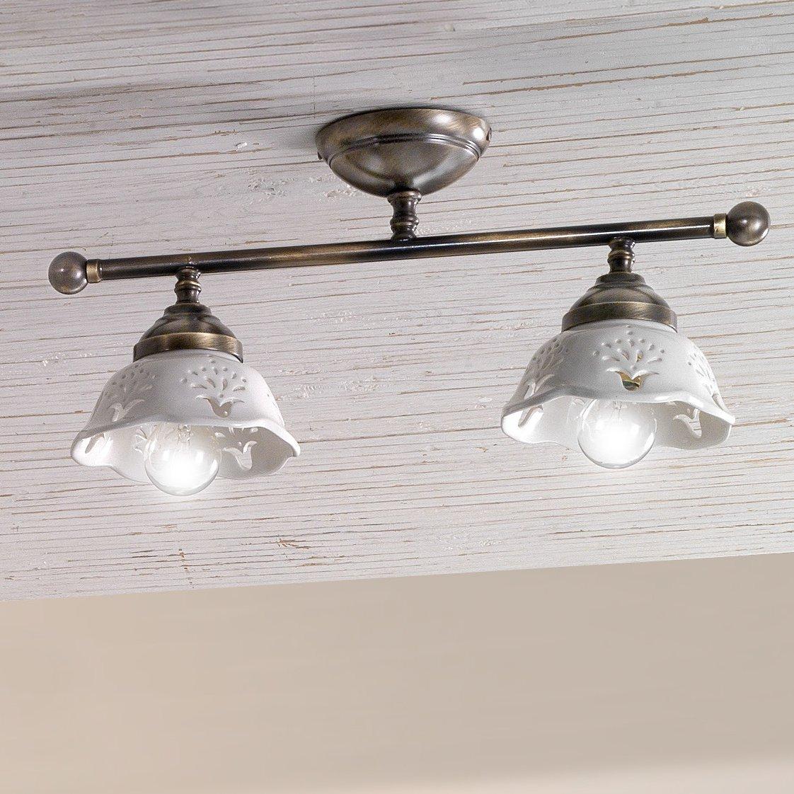 zwei und dreiflammige deckenlampe im landhausstil. Black Bedroom Furniture Sets. Home Design Ideas