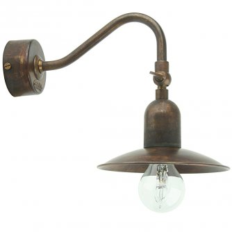 rustikale wandlampe postiglione mit messing schirm von aldo bernardi. Black Bedroom Furniture Sets. Home Design Ideas