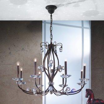 eleganter kristall kronleuchter in eisen messing und blattgold von menzel leuchten. Black Bedroom Furniture Sets. Home Design Ideas