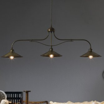 Dreiflammige Balkenlampe in Messing