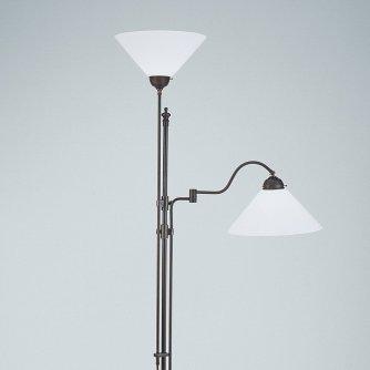 stehlampe standleuchte mit lesearm und deckenfluter mit glasschirm im modernen landhausstil von. Black Bedroom Furniture Sets. Home Design Ideas