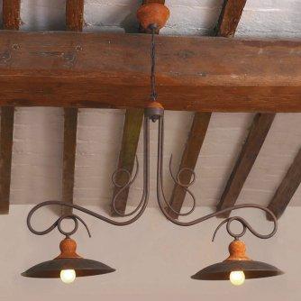 Dreiflammige balkenlampe osteria in messing und kupfer von for Lampe mit mehreren schirmen