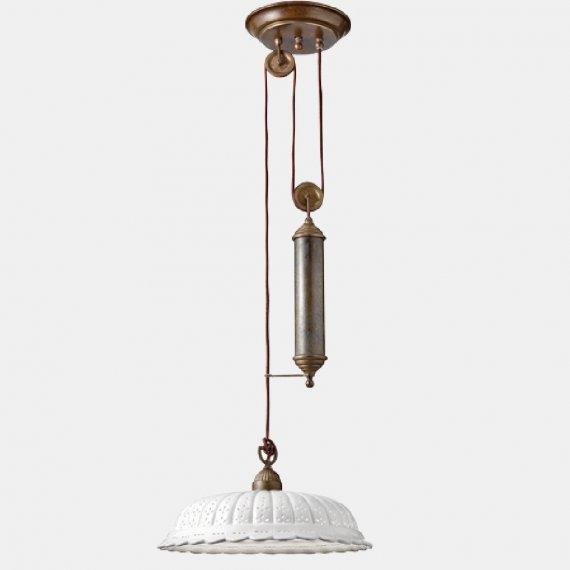 nostalgische h henverstellbare zugpendelleuchte in messing und keramik von il fanale g nstig. Black Bedroom Furniture Sets. Home Design Ideas