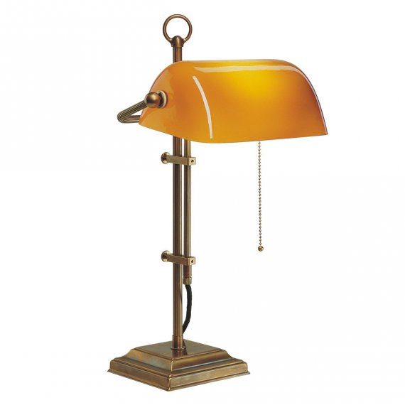 Bankers Lamp in Berliner Messing mit Cognac-Glas