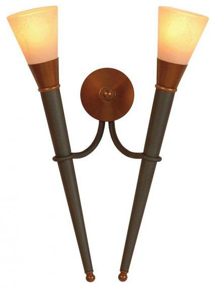 rustikale doppelte wandfackel von menzel leuchten lampen. Black Bedroom Furniture Sets. Home Design Ideas