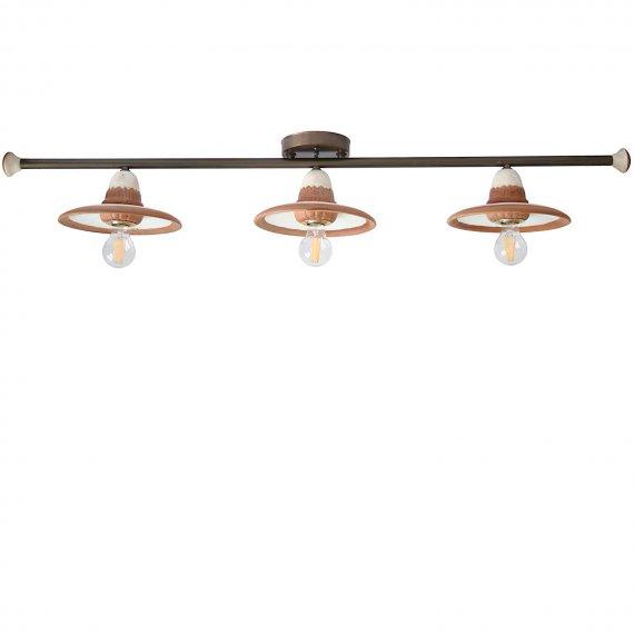 Dreiflammige Landhaus Deckenlampe Im Dekor Travertin/Terrakotta