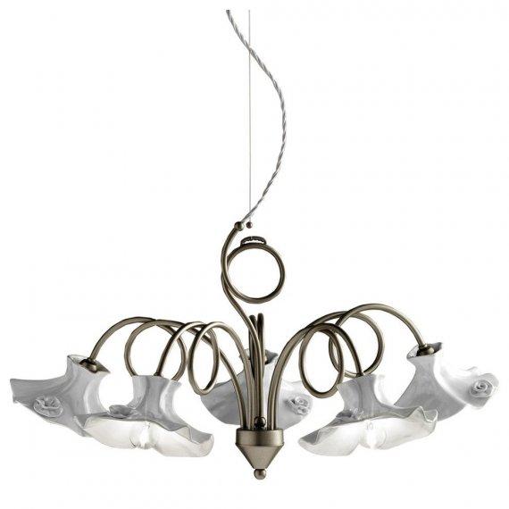 f nfflammiger kronleuchter im modernen landhausstil von ferroluce lampen suntinger shop. Black Bedroom Furniture Sets. Home Design Ideas