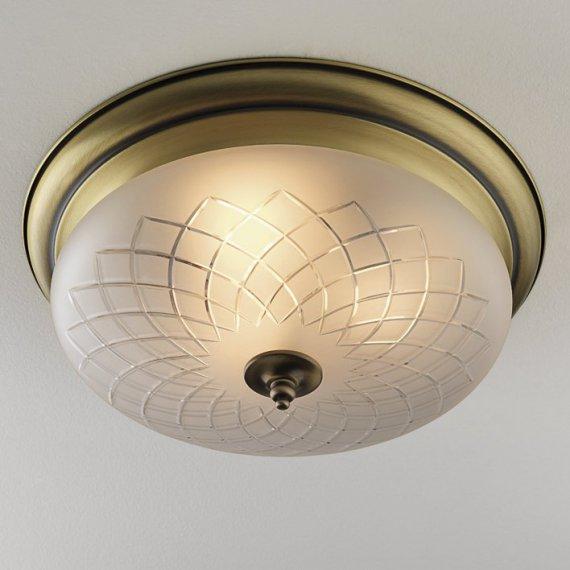 gro e flache jugendstil deckenleuchte mit geschliffenem glasschirm lampen suntinger shop. Black Bedroom Furniture Sets. Home Design Ideas
