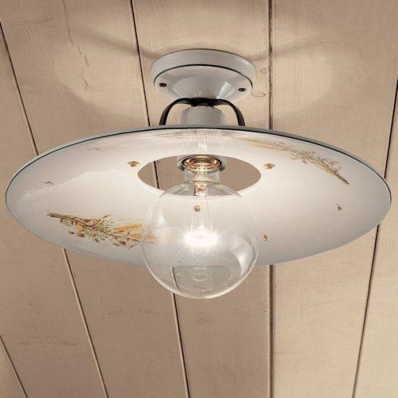 Keramik-Plafoniera, italienische Deckenlampe im Landhausstil mit ...