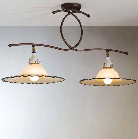 italienische landhaus deckenleuchte aus glas und keramik lampen suntinger shop. Black Bedroom Furniture Sets. Home Design Ideas