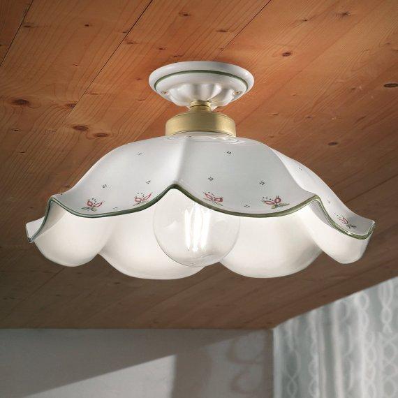 Lampen Landhausstil Keramik Leuchte Im Kaufen Gebraucht: Italienische Nostalgie-Deckenlampe Mit Großem KEramik