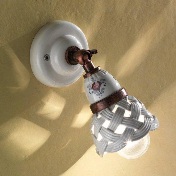 wandspot im landhausstil in keramik und messing von ferroluce g nstig kaufen bei lampen. Black Bedroom Furniture Sets. Home Design Ideas