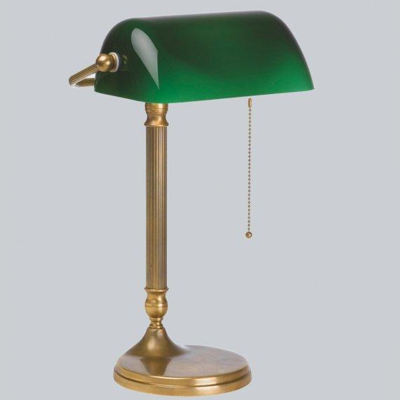 klassische bankers lamp mit flaschengr nem glasschirm. Black Bedroom Furniture Sets. Home Design Ideas