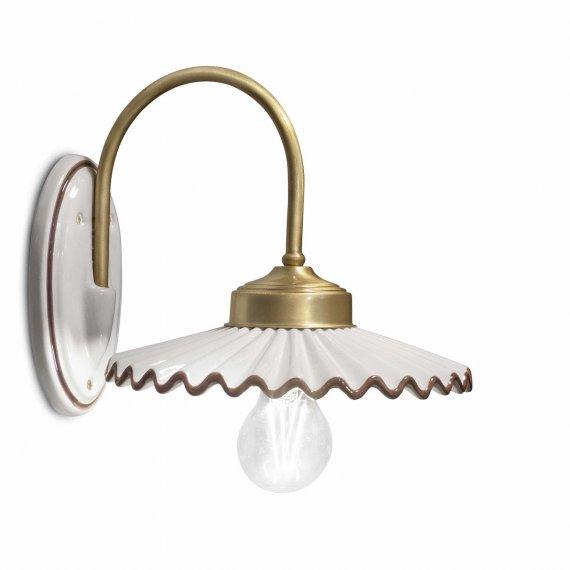 wandlampe mit gebogenem arm im antiken stil in messing mit. Black Bedroom Furniture Sets. Home Design Ideas