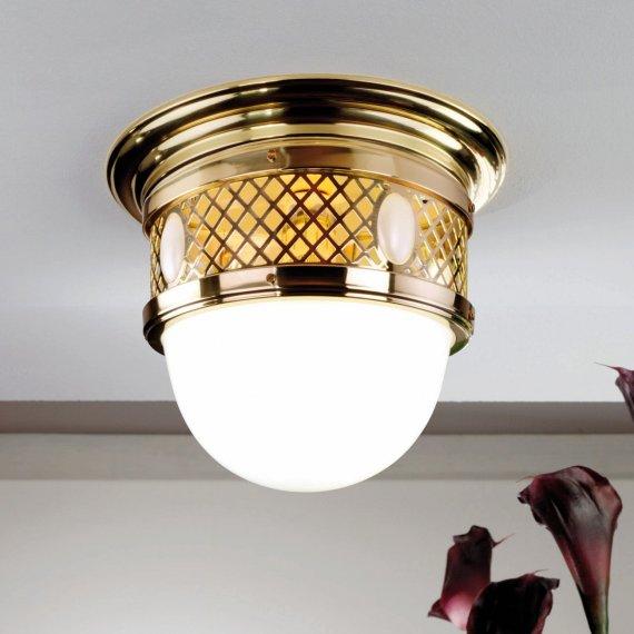 Kleine Kuppelformige Art Deco Deckenleuchte In Messing Gold