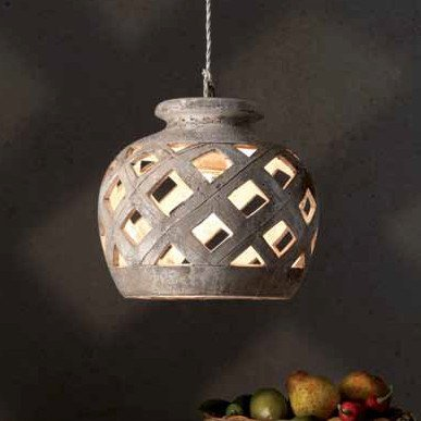 GroBartig Ländliche Keramik Leuchte Mit Durchmesser 28cm, Keramikoberfläche Sand