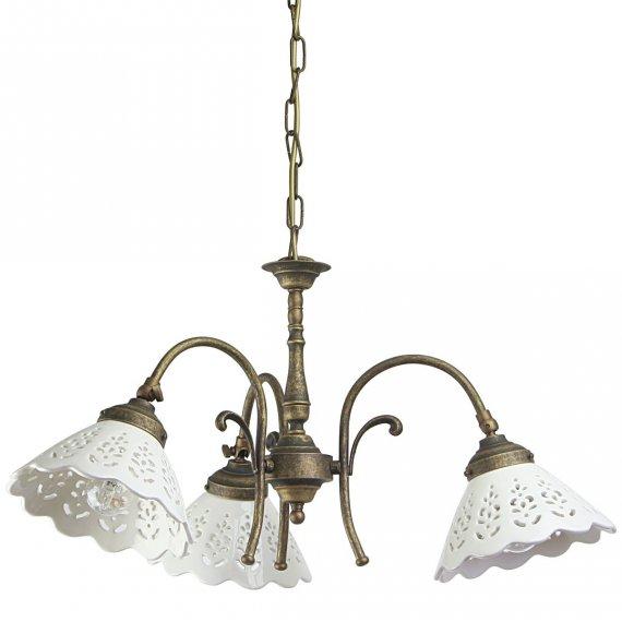 italiensicher landhaus kronleuchter in messing und keramik lampen suntinger shop. Black Bedroom Furniture Sets. Home Design Ideas