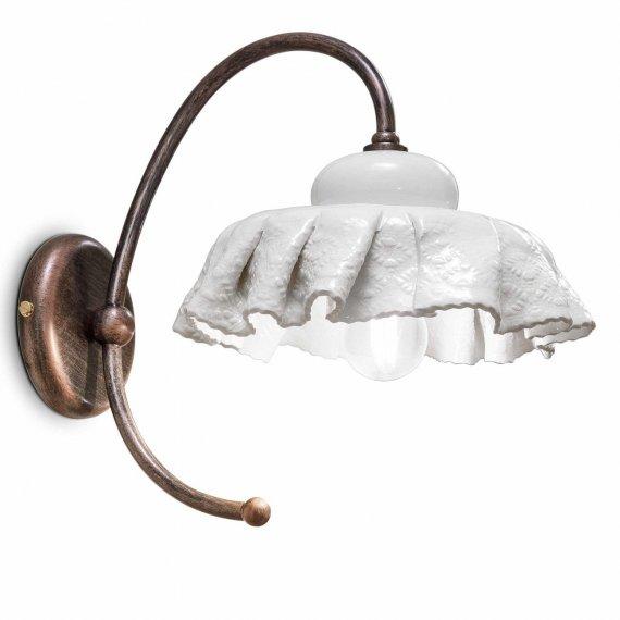 Nostalgische wandleuchte mit keramikschirm mit faltenwurf for Nostalgische lampen
