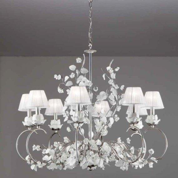 gro er florentiner kronleuchter aus der toskana mit glasbl ten und stoffschirmen mit swarovski. Black Bedroom Furniture Sets. Home Design Ideas