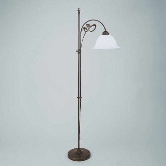 Captivating Jugenstil Stehleuchte In Messing Antik, Mit Kleinem, Hohem Glasschirm,  Durchmesser 29cm Amazing Ideas