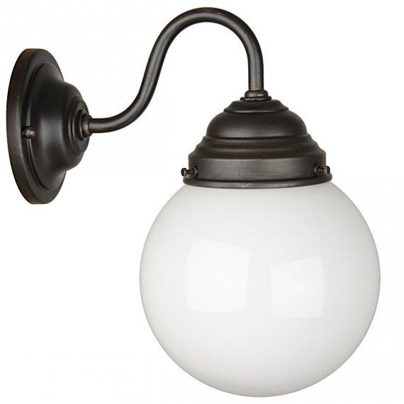 mike klassiche wandleuchte mit geschlossenem glasschirm als badlampe oder spiegellampe lampen. Black Bedroom Furniture Sets. Home Design Ideas
