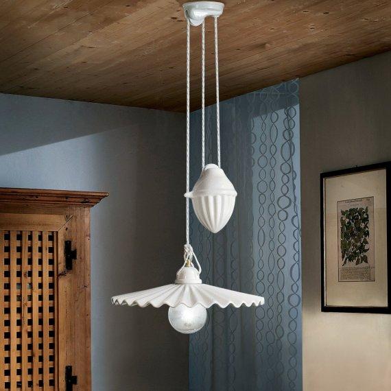 mediterrane keramik messing zugpendelleuchte mit. Black Bedroom Furniture Sets. Home Design Ideas