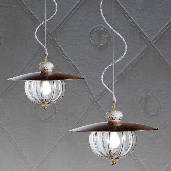 Nostalgische pendelleuchte mit glassturz aus muranoglas for Nostalgische lampen