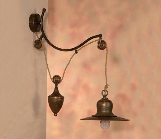 rustikale messing wandlampe im historischen stil vom italienischen hersteller signa g nstig. Black Bedroom Furniture Sets. Home Design Ideas