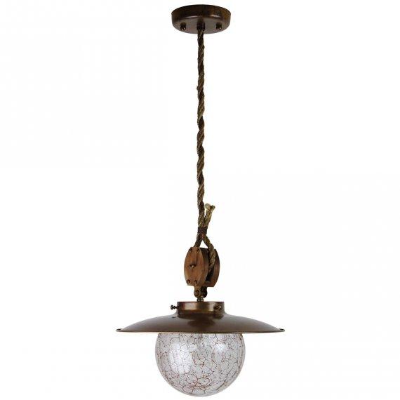 rustikale stubenlampe in messing mit seil aufh ngung g nstig kaufen bei lampen suntinger shop. Black Bedroom Furniture Sets. Home Design Ideas