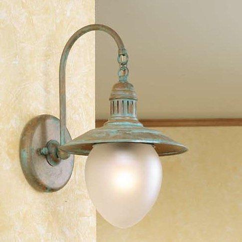 Rustikale wandlampe im stil einer alten schiffslampe als innenraumlampe in messing und glas - Rustikale wandlampe ...