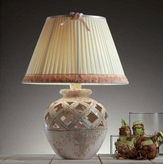 elegante vasenleuchte in keramik plissiertem textilschirm mit zartrosa borte lampen suntinger shop. Black Bedroom Furniture Sets. Home Design Ideas